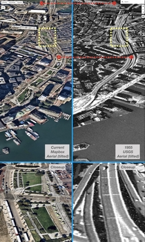 Megaproject comparison aerials Rose Kennedy Greenway surface parks replace Bostons  elevated highway The B Big Dig project put I- underground and has transformed downtown Boston