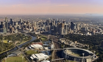 Melbourne Australia from a helicopter