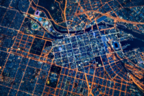 Melbourne Australia from above at night    Andrew Griffiths