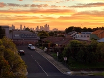 Melbourne Australia taken from a rooftop in Brunswick at sunset