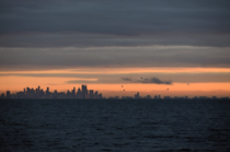 Melbourne Australia - winter sunrise as seen from the middle of Port Phillip Bay