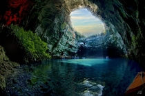 Melissani Cave located in Kefalonia Island Greece - Was lost for centuries but re-discovered in