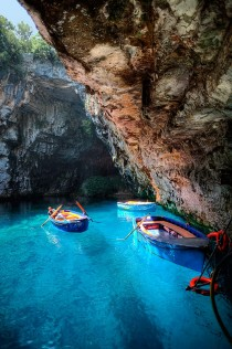 Melissani Lake Dragarati Cave in Kefalonia Greece