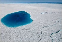 Meltwater lake and streams on the Greenland Ice