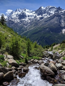 Meltwater rushing down in early summer in Valais Switzerland  - Nature Landscape pictured