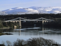 Menai Suspension Bridge between the island of Anglesey and the mainland of Wales