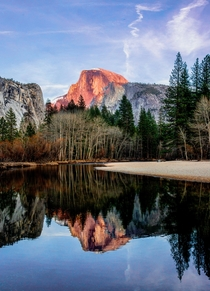 Merced river reflection of Half Dome Yosemite National Park California