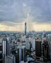 Merdeka  rising fast above the Kuala Lumpur skyline One of the tallest buildings in the world when finished