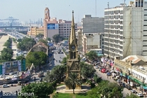 Merewether Clock Tower in the Heart of Karachis Financial District - Port of Karachi is Visible in the Background  x-post rExplorePakistan