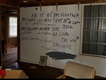 Message found in a vacant home by the clean-up crew