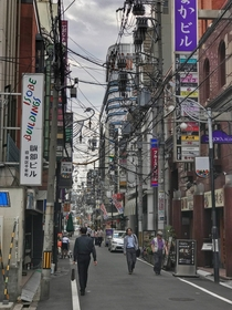 Messy overhead cables in Osaka Japan