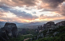 Meteora Greece at sunset