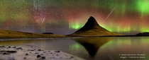 Meteors and Aurorae over Iceland