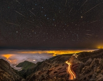 Meteors Comet and Big Dipper over La Palma