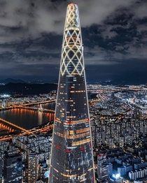 meter high its the tallest building in South Korea  Lotte World Tower lotte_worldtower designed by kohnpedersenfox  shot by Mavicpro  Reposted rexzou