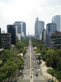 Mexico City from the top of the Angel of Independence looking down Reforma