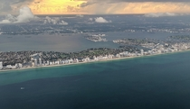 Miami Beach on approach to the airport on a stormy evening