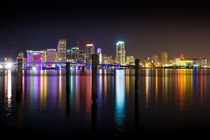Miami skyline colors at night