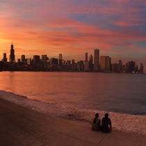 Mid-March Chicago sunset without filters