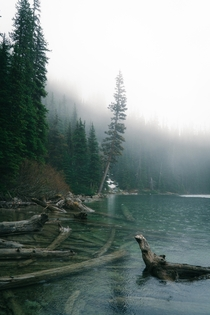 Middle Joffre Lake during a rainstorm in early Spring BC