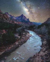 Midnight at a river in Utah Zion National Park UT  grantplace