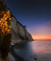 Midnight glow over Mns Klint Southern Denmark
