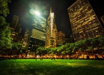 midnight in Bryant Park in New York City