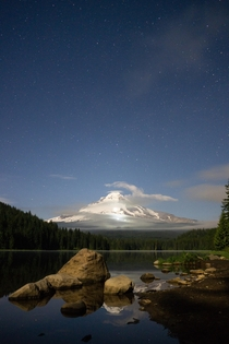 Midnight skate through the national forest at Trillium Lake Mount Hood Oregon in May  IG n_lan