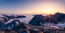 Midnight sun season is over here in Troms Norway I witnessed the first sunrise in over  months from a mountain above the clouds