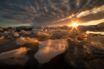 Midnight sunset at Jokulsarlon