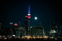 Midtown Manhattan and the Empire State Building with a semi-full moon rise as seen from my wedding reception