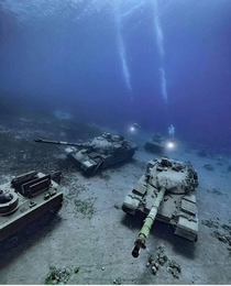 Military equipment and tanks abandoned underwater in Jordan