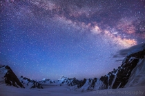 Milky Way Above The  Kilometer Wide Snow Lake Surrounded By The Karakoram Mountains  Snow Lake Karakoram Pakistan  By Feng Wei