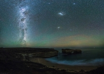 Milky Way airglow and a couple of Magellanic clouds over the London Arch Victoria Australia