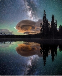 Milky Way amp lenticular cloud or UFO reflected on lake in Western Washington State by John Weatherby