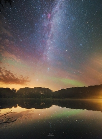 Milky Way and airglow reflections Mn Denmark