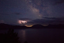 Milky Way and lightning over Crater Lake