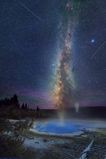 Milky Way and Meteors over the Geysers of Yellowstone  by David Lane