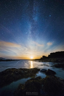 Milky Way and Moonset at Niarbyl Isle of Man