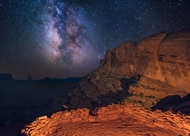 Milky Way and Stars over False Kiva in Canyonlands National Park Utah USA