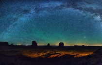 Milky Way arching over Monument Valley