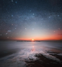 Milky Way at the Moonset over Lnstrup beach Denmark  astrorms
