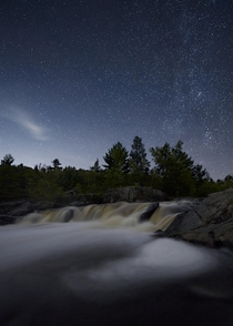 Milky way back lining Big Falls Outside of Eau Claire WI