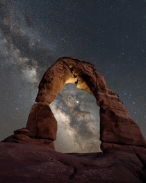 Milky Way Crashing Through Delicate Arch Arches NP Utah  ramblinjoe