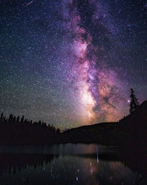 Milky Way emerging over an alpine lake in the Colorado backcountry