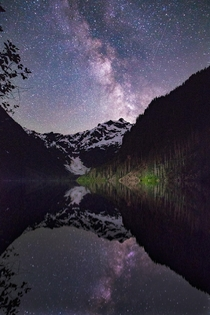 Milky Way erupts over Foggy Peak in Mt Baker-Snoqualmia National Forest