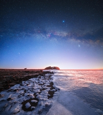 Milky Way fading in the first sunlight over frozen Limfjord Denmark