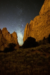 Milky Way framed by rocks at The Garden of the Gods in Colorado Springs Co