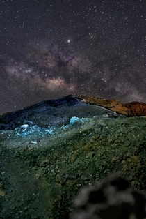 Milky Way from the crater of the Pacaya volcano in Guatemala