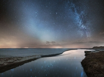 Milky Way Galaxy and Zodiacal Light over North JutlandDenmark Zodiacal light is created by sunlight reflected from dust that was mostly expelled by comets that have passed near Jupiter orbiting the Sun Credit Ruslan Merzlyakov